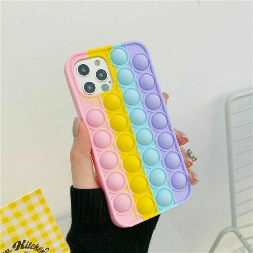 (Rainbow, iphone 12 pro max) Pop Fidget Push Bubble Toys Phone Cover Case For iPhone
