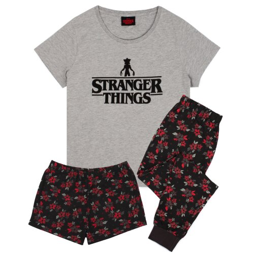 (Short Leg, Medium) Stranger Things Pyjamas For Women | Short OR Long Leg Bottom Options PJs | Grey T-Shirt & Demogorgon Flower Lounge Trousers Ladies Gifts
