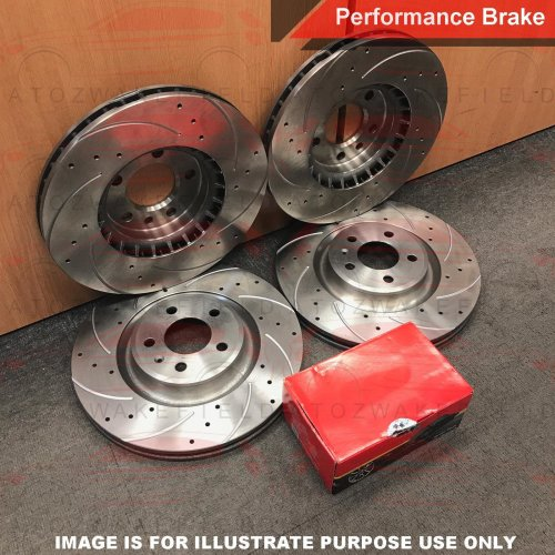 FOR BMW X6 30d M SPORT FRONT REAR DRILLED GROOVED BRAKE DISCS PLATINUM PADS