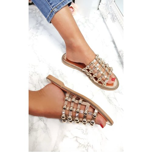 IKRUSH Womens Liza Studded Caged Open Toe Sandals