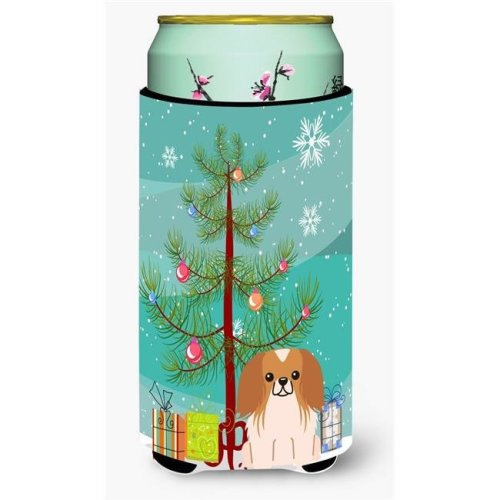 Merry Christmas Tree Pekingnese Red & White Tall Boy Beverage Insulator Hugger