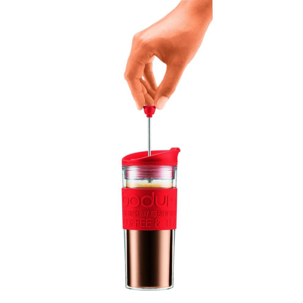 0.35 L12 oz Red Bodum Travel Press Set Coffee Maker with Extra Lid