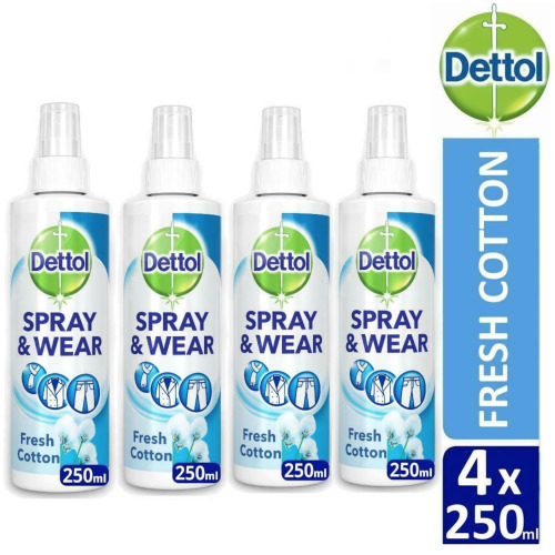 Dettol Spray and Wear Fabric Clothes Freshener Spray, Fresh Cotton Scent, Pack of 4 x 250 ml