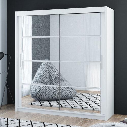 Modern and Elegant Sliding Door Wardrobe DAKOTA 160 WHITE