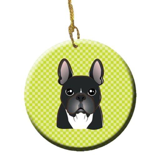 Checkerboard Lime Green French Bulldog Ceramic Ornament, 2.81 In.