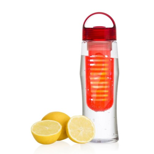 Vinsani Fruit Fuzer Water Bottle Fruit Infusion Infuser Aqua Hydration - Red