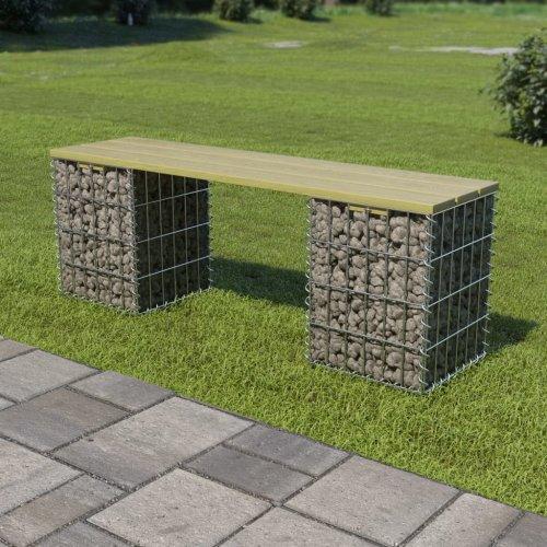 Gabion Bench 120 cm Galvanised Steel and FSC Pinewood