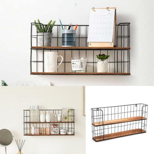 Vintage Wall Unit Metal Wire Wood Industrial Shelf Rack Basket Storage