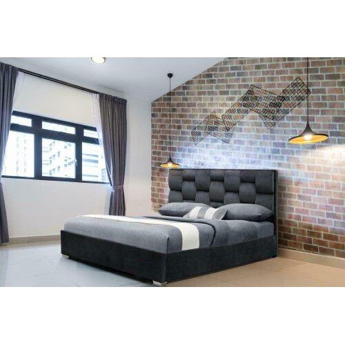 Auckland PLush Velvet Fabric Bed Frame with Harper Mattress