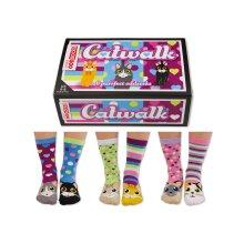 United Oddsocks Catwalk Box of 6 Multicoloured Ladies Socks UK 4 - 8