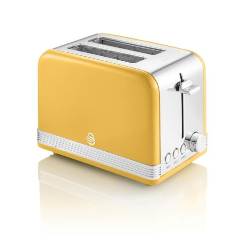 Swan 2 Slice Retro Toaster 815W Variable Browning Stainless Steel LED Indicator - Yellow