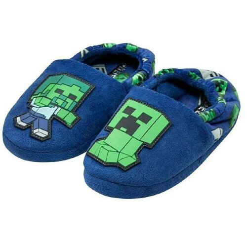 Boy's Creeper and Zombie Steve Slippers, Blue Warm Slip On for Kids
