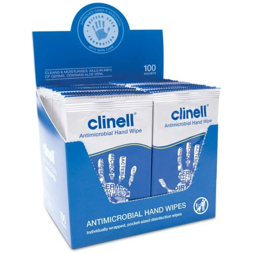 Clinell Antibacterial Hand Wipes Suitable for Hands and Surfaces - Kills 99.999% of Germs: Pack of 100 Sachets