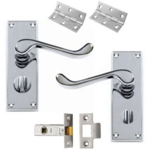 Victorian Scroll Polished Chrome Door Handle Privacy Pack 120mm +Hinges &63mm Latch