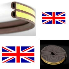 6M GARAGE DOOR RUBBER STRIP DRAUGHT EXCLUDER SEAL SELF ADHESIVE - BROWN