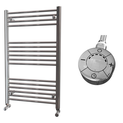 HB Essentials Zena Chrome Straight Ladder Heated Towel Rail 1000mm x 600mm Electric Only - Thermostatic