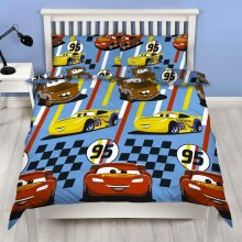 Official Disney Cars Dinoco Double Duvet Cover Rescue Design | Reversible Two Sided Bedding Duvet Cover Featuring Lightning Mcqueen & Mater With Match