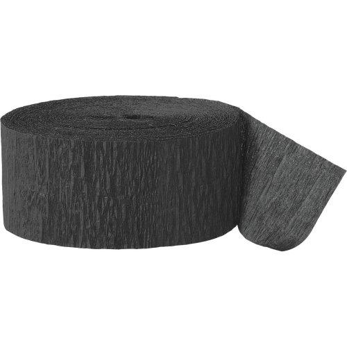 Unique Party  6375  - 24m Black Crepe Paper Party Streamer