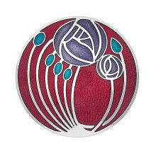 Red Mackintosh Brooch Roses and Buds Silver Plated Brand New Gift Packaging