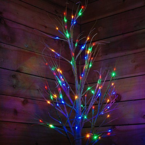1.5m Christmas Outdoor Birch Tree with 64 Multicoloured LEDs