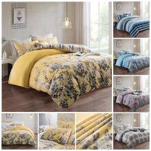 Luxury Reversible Floral Duvet Quilt Cover Bedding
