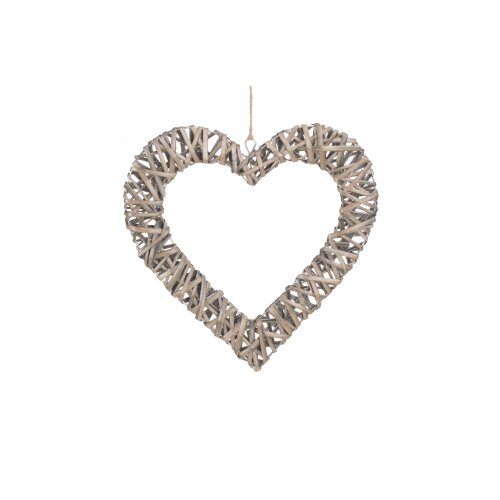 (small) Rustic Flat Open Wicker Heart