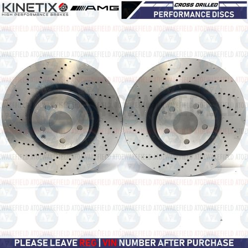 FOR MERCEDES C63 AMG S FRONT DIMPLED DRILLED PERFORMANCE BRAKE DISCS PAIR 360mm