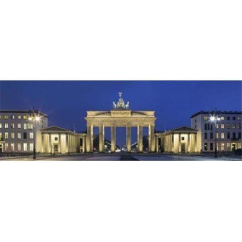 City gate lit up at night  Brandenburg Gate  Pariser Platz  Berlin  Germany Poster Print by  - 36 x 12