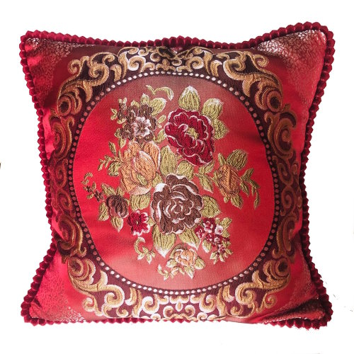(Red) Floral Vintage Embroidered Woven Cushion Cover