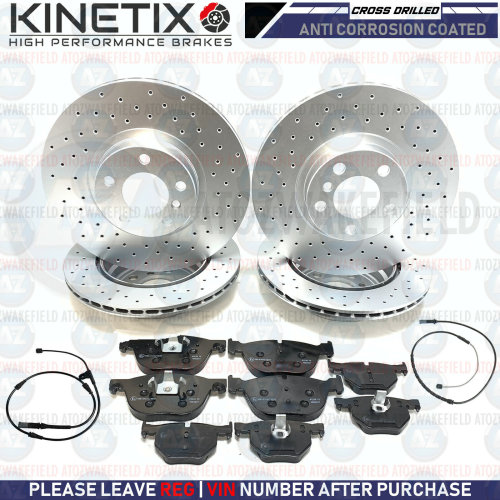 FOR BMW X5 E70 X6 E71 E72 FRONT REAR DRILLED BRAKE DISCS PLATINUM PADS SENSORS