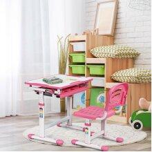 Height Adjustable Kids Study Desk Chair Set with Drawer& Tilted Desktop Pink