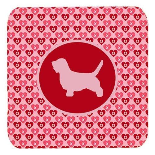 Petit Basset Griffon Vendeen Valentine Hearts Foam Coasters - Set 4, 3.5 x 3.5 In.