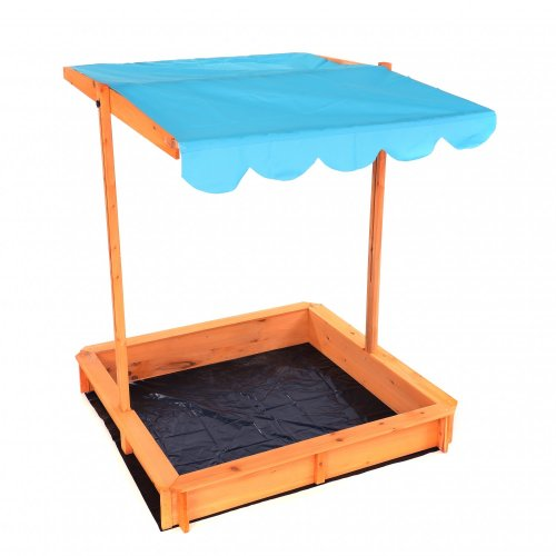 Oypla Childrens Wooden Garden Sand Pit with Adjustable Canopy Sun Shade