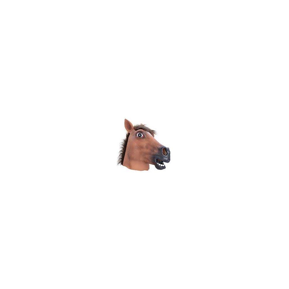 Brown Horse Overhead Mask Fancy Dress Head Costume Rubber Animal Panto