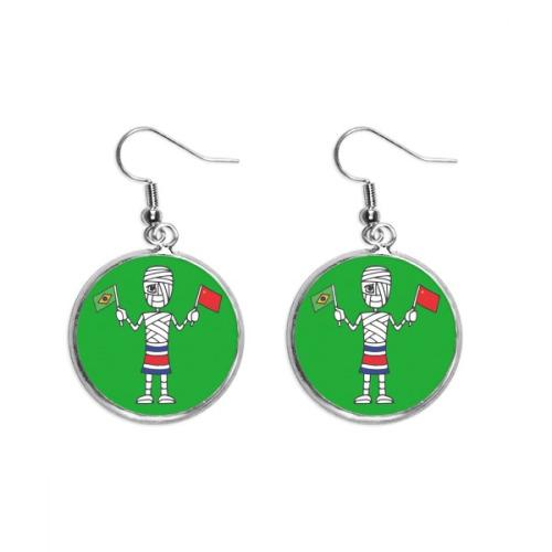 Costa Rica Mummy Chinese Flag Brazil Flag Ear Dangle Silver Drop Earring Jewelry Woman