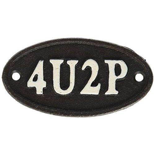"Abbott Collection Small ""4U2P"" Black Cast Iron Sign"