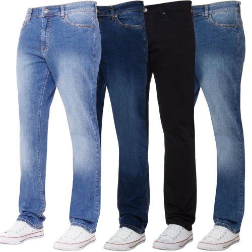 Kruze Mens Straight Leg Stretch Jeans Regular Fit  Denim Pants