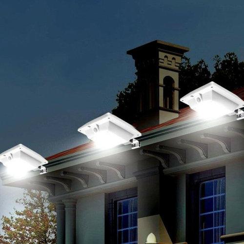LED Sensor Light Solar Power Outdoor Garden Patio Gutter Wall Lamp