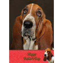 """Basset Hound Father's Day Greeting Card 8""""x5.5"""""""