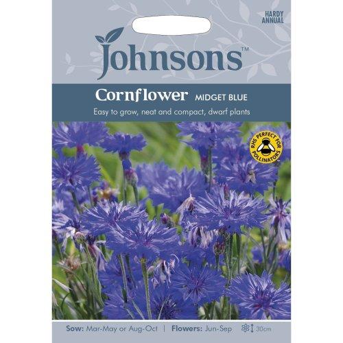 Johnsons Seeds - Pictorial Pack - Flower - Cornflower Midget Blue - 150 Seeds