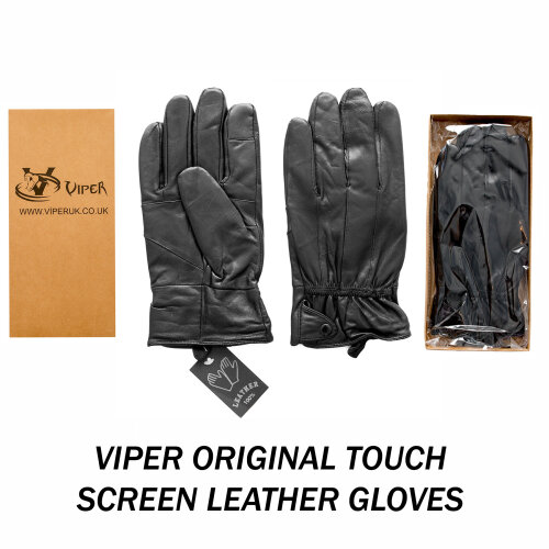 Viper Fleece Lined Thermal Insulated Genuine Leather Mens Gloves Touch Screen