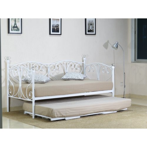 (2ft6 small single, White) Iris Metal Day Bed With Crystal Finials with Trundle Option