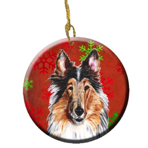 Carolines Treasures SC9742CO1 Collie Red Snowflakes Holiday Ceramic Ornament