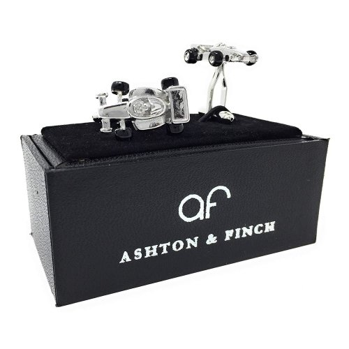 Ashton and Finch Silver Formula One Racing Car Cufflinks in a Free Luxury Presentation Box. Novelty Motoring Theme Jewellery