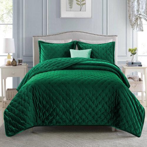 (Green, King) 3pc Imperial Rooms Velvet Bedspread Set