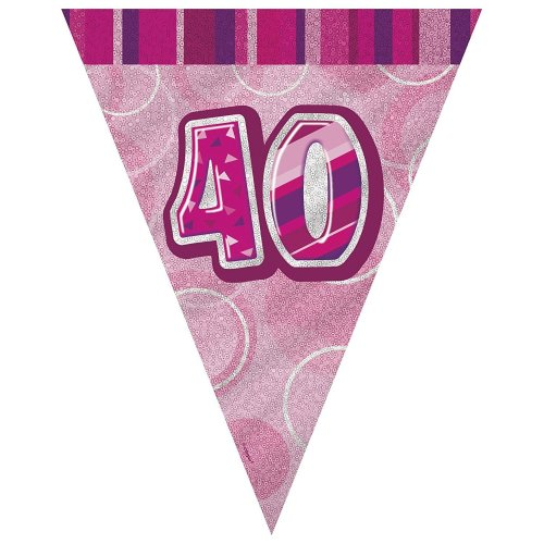 GLITZ BLUE AGE 18 FLAG BUNTING BANNER HAPPY BIRTHDAY PARTY DECOR HOLOGRAPHIC