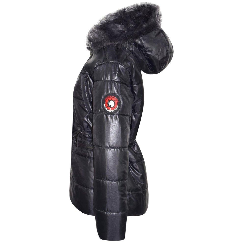 Kids Girls Jackets Puffer Black Hooded, Black Coat With Fur Hood Children S