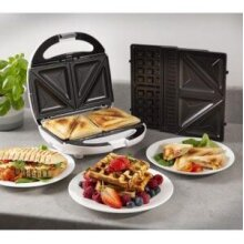 Tower 800W 3 in 1 Sandwich Waffle Maker Press Toaster Non-Stick Plate
