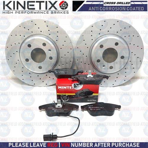 FOR AUDI A4 B8 FRONT CROSS DRILLED KINETIX BRAKE DISCS MINTEX BRAKE PADS 314mm