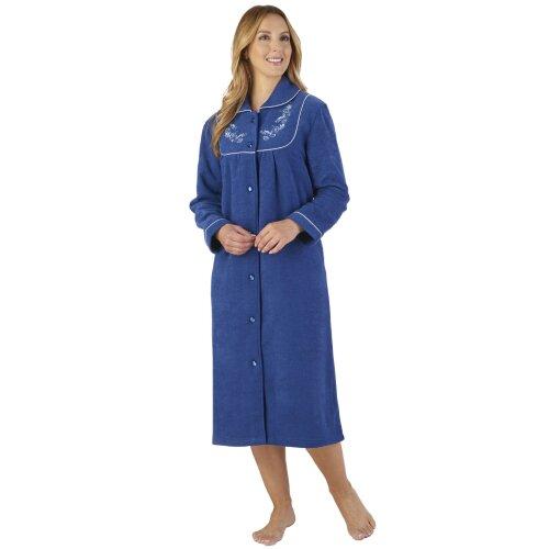(Navy, Small) Slenderella HC2326 Women's Boucle Fleece Floral Robe Loungewear Bath Dressing Gown